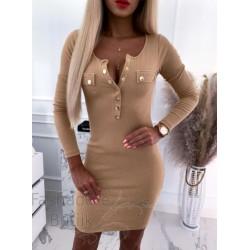 Kuldsete nööpidega bodycon kleit